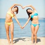 Girls having fun on the beach — Stock Photo #45110315
