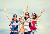 Beautiful teenage girls or young women having fun — Stock Photo