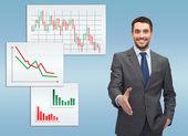 Uomo d'affari con la mano aperta e pronta per la stretta di mano — Foto Stock