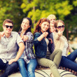 Group of students or teenagers pointing fingers — Stok fotoğraf