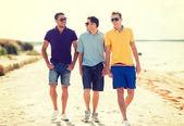 Grupp av vänner som promenerar på stranden — Stockfoto