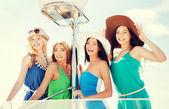 Girls on boat or yacht — Zdjęcie stockowe