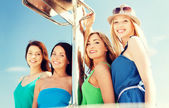 Girls on boat or yacht — Stock Photo