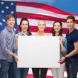 Group of standing students with blank white board — Stock Photo #46963623