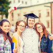 Students or teenagers with files and diploma — Stock Photo #46969699