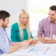 Smiling interior designers working in office — Stock Photo #47227455