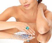 Woman with cocktail ring and stones — Stock Photo