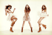 Triple image of fashion model in different poses — Stock Photo
