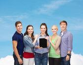 Students showing blank tablet pc screen — Foto de Stock