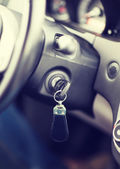 Car key in ignition start lock — Stock Photo