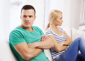 Unhappy couple having argument at home — Stock Photo