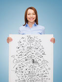 Smiling businesswoman with plan in white board — Stock Photo