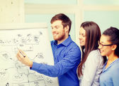 Smiling business team discussing plan in office — Stock Photo