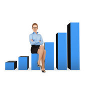 Smiling businesswoman in glasses sitting on chart — Stock Photo
