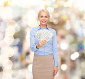 Young businesswoman with dollar cash money — Stok fotoğraf