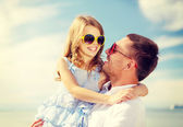 Happy father and child girl having fun outdoors — Stock Photo