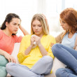 Two teenage girls comforting another after breakup — Stock Photo #49092069