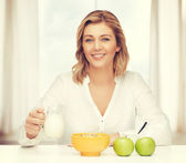 Woman with healthy breakfast — Stock Photo