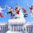 Group of teenagers jumping — Stock Photo #49331025