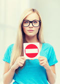 Woman with no entry sign — Stock Photo