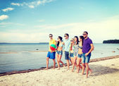 Group of friends having fun on the beach — Stock fotografie