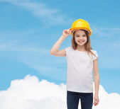 Smiling little girl in protective helmet — Stock Photo