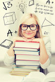 Student with stack of books and doodles — Fotografia Stock