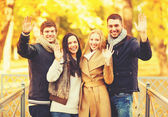 Group of friends having fun in autumn park — Stock fotografie