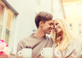 Romantic happy couple in the cafe — Stock Photo