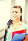 Student girl with school bag and color folders — Stock fotografie