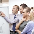 Business team with flip board having discussion — Stock Photo #50168211
