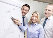 Equipo de negocios con el tablero de flip tiene discusión — Foto de Stock