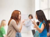 Two teenagers having a fight at school — Stock Photo
