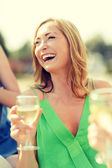 Laughing woman with wine glass — Foto de Stock