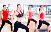 Group of smiling people doing aerobics — Stockfoto