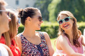 Group of smiling friends outdoors sitting in park — Stok fotoğraf