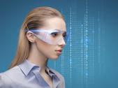 Businesswoman in virtual glasses — Stock Photo