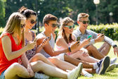 Smiling friends with smartphones sitting on grass — Stock Photo