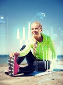 Donna fare sport all'aperto — Foto Stock