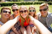 Group of smiling friends making selfie in park — Stockfoto