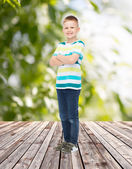 Smiling little boy in casual clothes — 图库照片