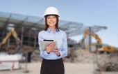 Businesswoman in white helmet — Stock Photo