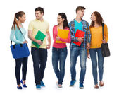 Group of smiling teenagers with folders and bags — Foto Stock