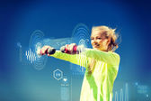 Sporty woman with light dumbbells outdoors — Stock Photo