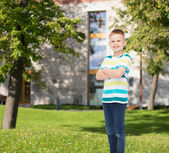 Smiling little boy in casual clothes — Stock Photo