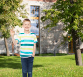 Smiling little boy showing ok sign — Stock Photo