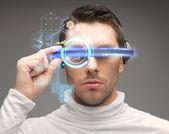 Man in futuristic glasses — Stock Photo
