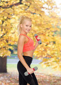 Smiling beautiful sporty woman with dumbbells — Stock Photo