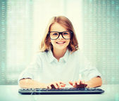 Student girl with keyboard — Stock Photo