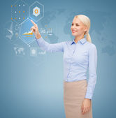 Smiling businesswoman working with virtual screen — Foto Stock